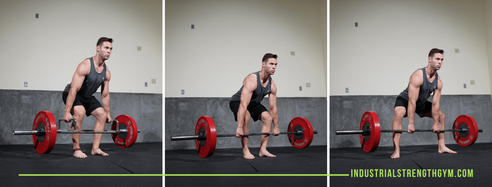 Man lifting weight in three separate pictures