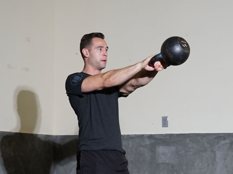 Tony Gracia doing a front kettlebell swing